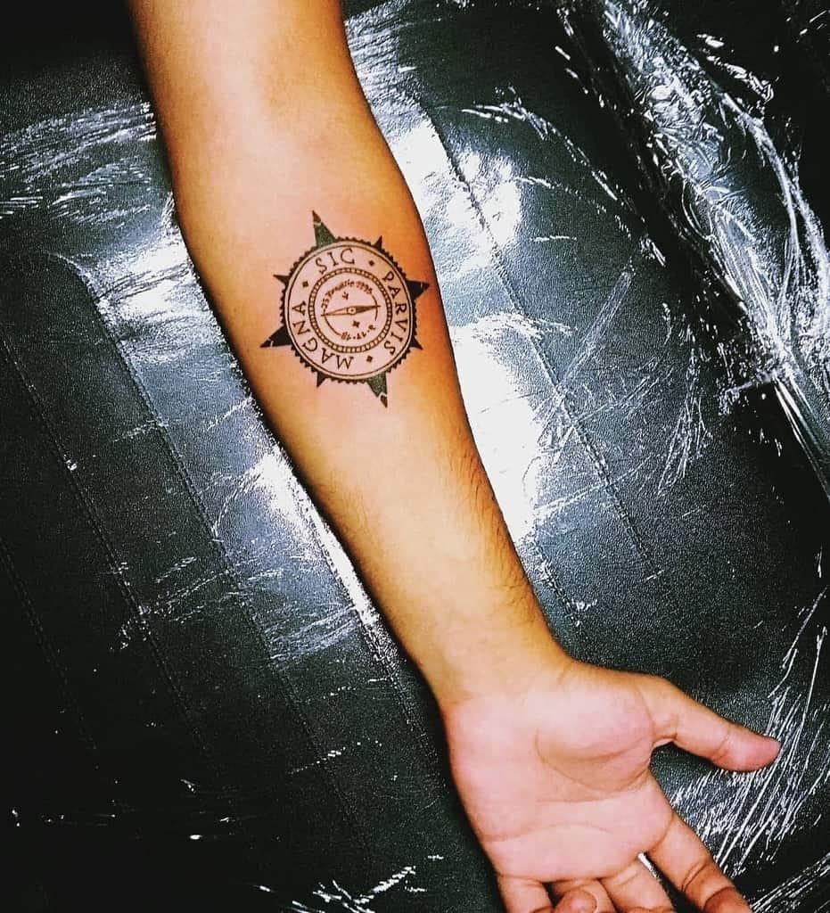 Compass Sic Parvis Magna Tattoos Sixxoficial