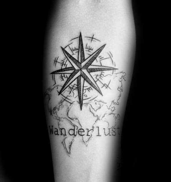 Compass Star With Wanderlust Map Inner Forearm Tattoo For Guys