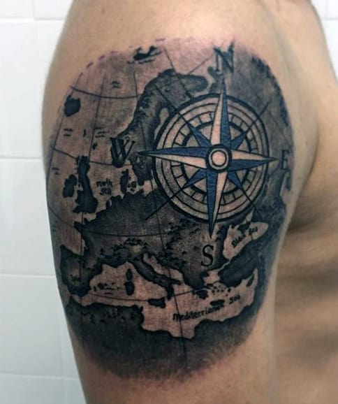 Compass Tattoo Designs For Men