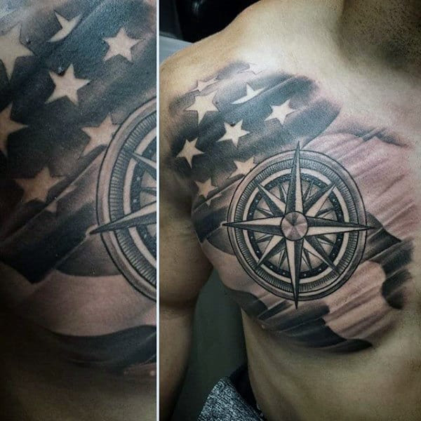 Compass Tattoo Of American Flag For Gentlemen
