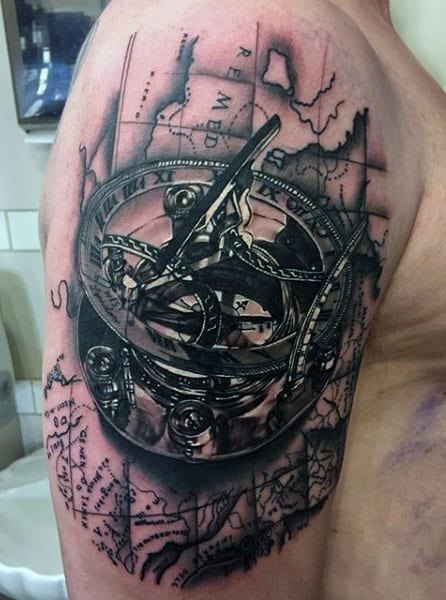 Compass Tattoo Arm For Men