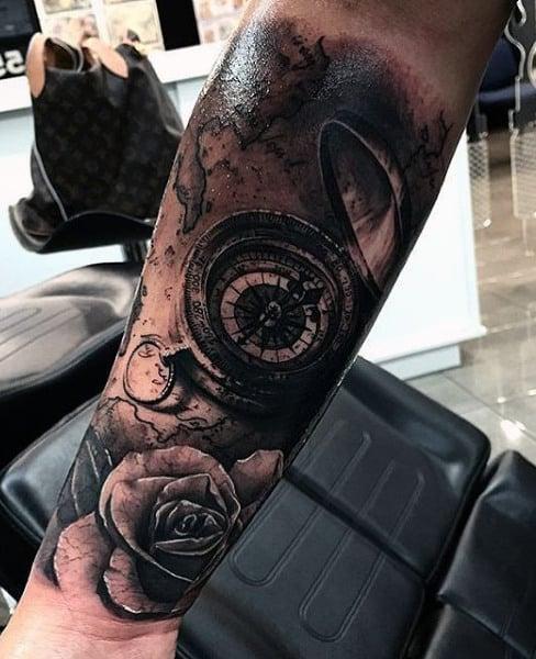 Compass Tattoos Designs For Men