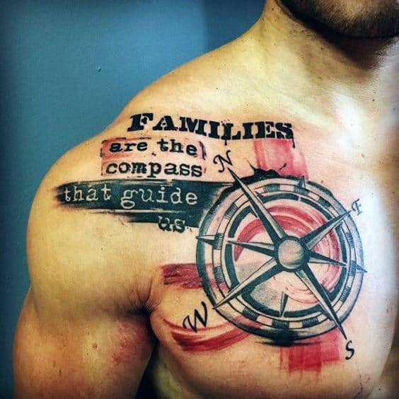 Compass With Chest Quote Mens Family Trash Polka Tattoo