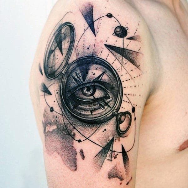 Compass With Eye Guys Abstract Cool Arm Tattoos