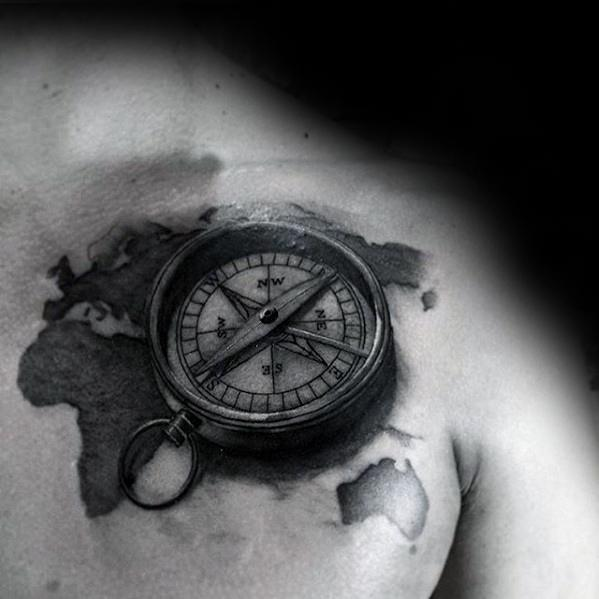 Compass With Map Unique Chest Male Tattoo Inspiration