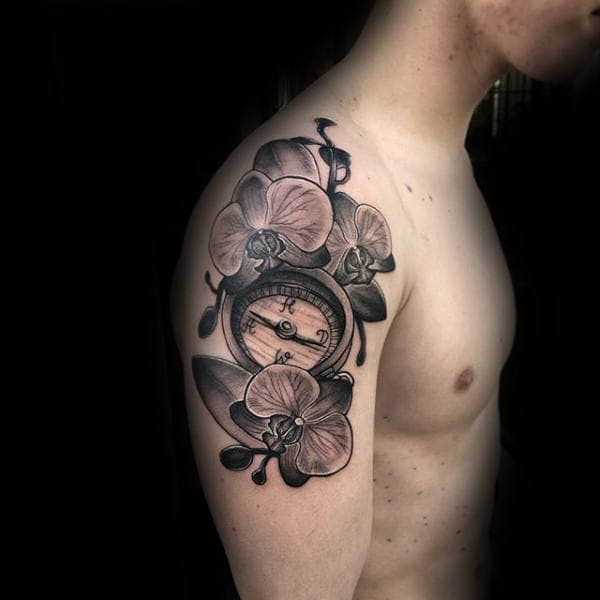 Compass With Orchid Flowers Mens Upper Arm Tattoos