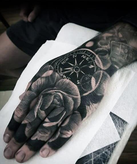 Compass With Rose Flower Guys Badass Hand Tattoo Ideas