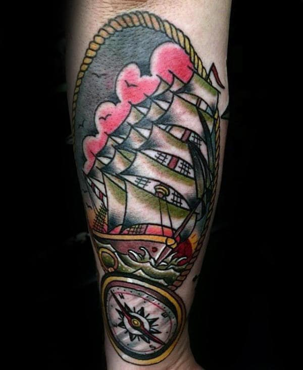 Compass With Ship Male Traditional Tattoo Design On Outer Forearm