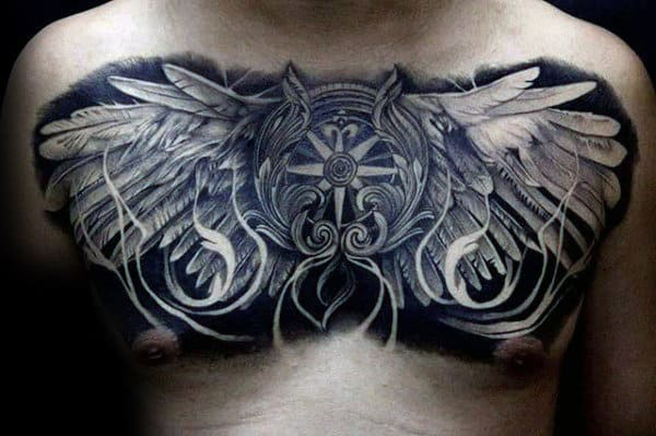 Compass With Wings Guys Masculien Chest Tattoo Designs