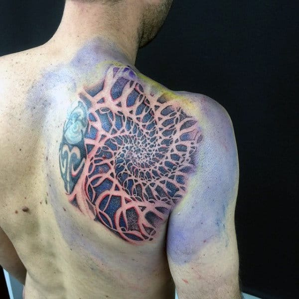 Complex Factal Shoulder Blade Tattoos For Men