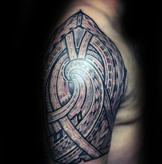 Complex Pattern Samoan Mens Half Sleeve Tribal Tattoo Ideas