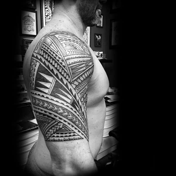 Complex Patterns Guys Tribal Half Sleeve Tattoo