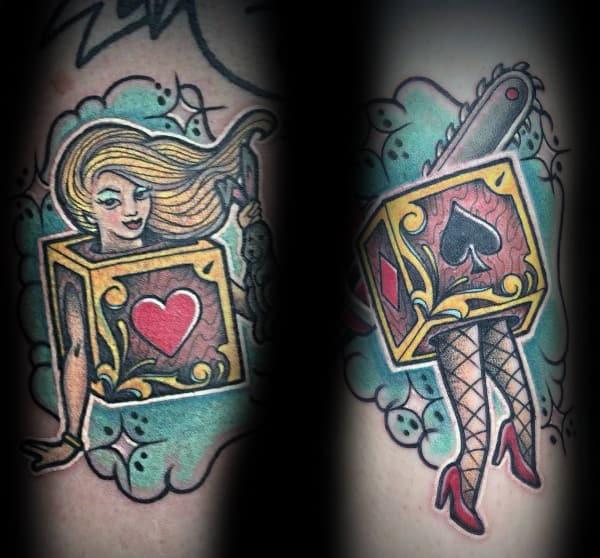 Tatuajes de cortesía para parejas con temática de trucos de magia