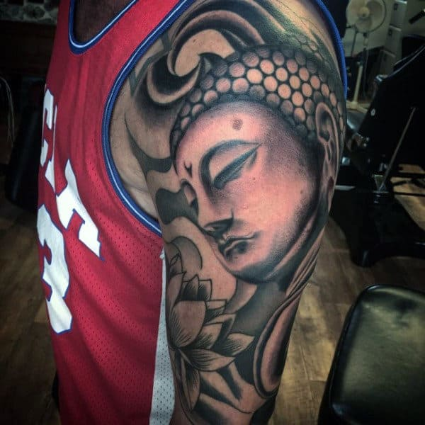 Composed Buddha Face Tattoo On Arms For Males