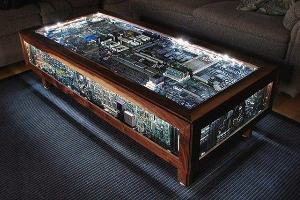 Computer Board Coffee Table Cool Bachelor Pad Furniture Design Ideas