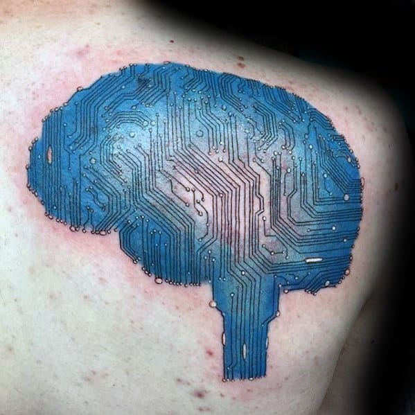 Computer Circuit Board Brain Upper Back Tattoo Design On Man
