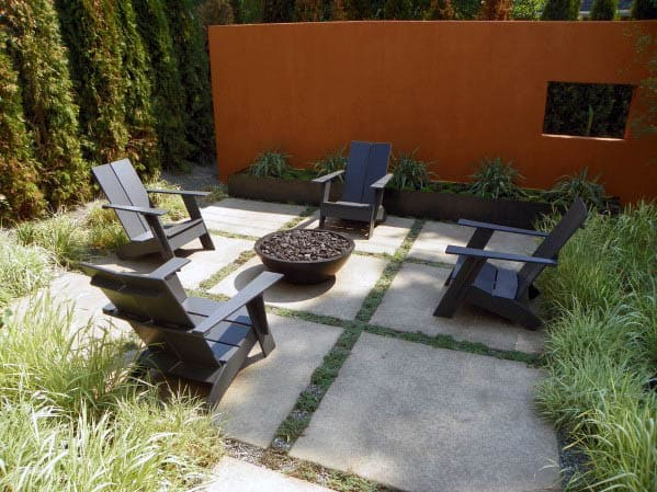 Concrete And Grass Border Ideas For Patio Firepit