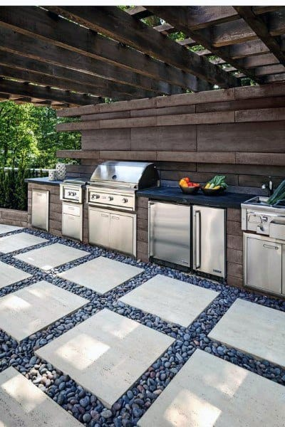 Concrete And Pebble Flooring Outdoor Kitchen Ideas