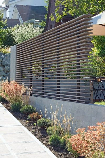 Concrete And Wood Modern Backyard Dog Fence Ideas