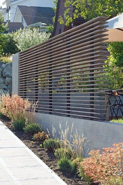 Concrete And Wood Modern Backyard Dog Fence Ideas