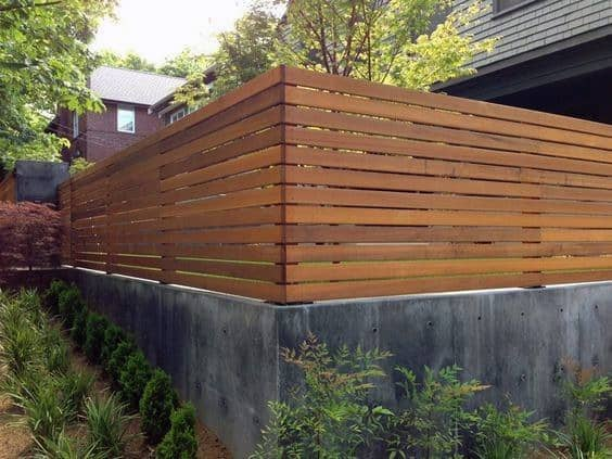 Concrete And Wood Slat Modern Home Exterior Wood Fence