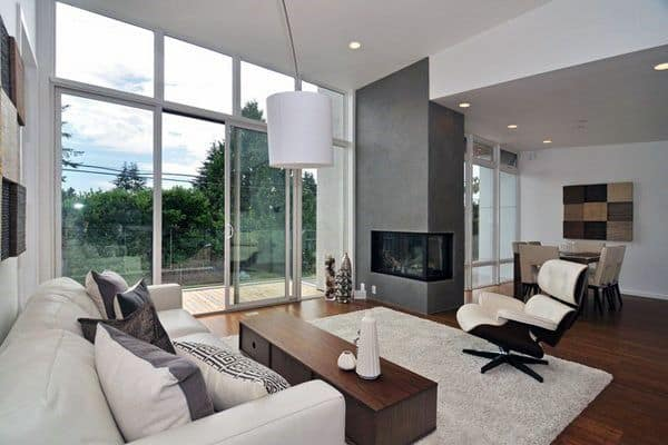 Concrete Corner Fireplace Design Living Room Ideas