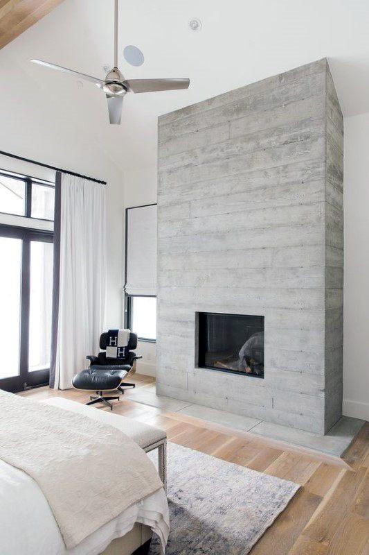 Concrete Fireplace Design Board Formed In Bedroom