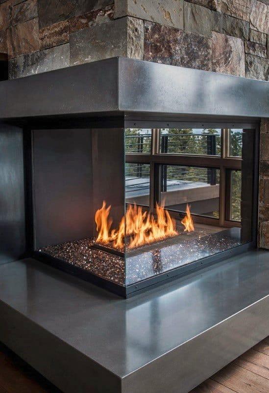Concrete Fireplace Design Ledge Polished
