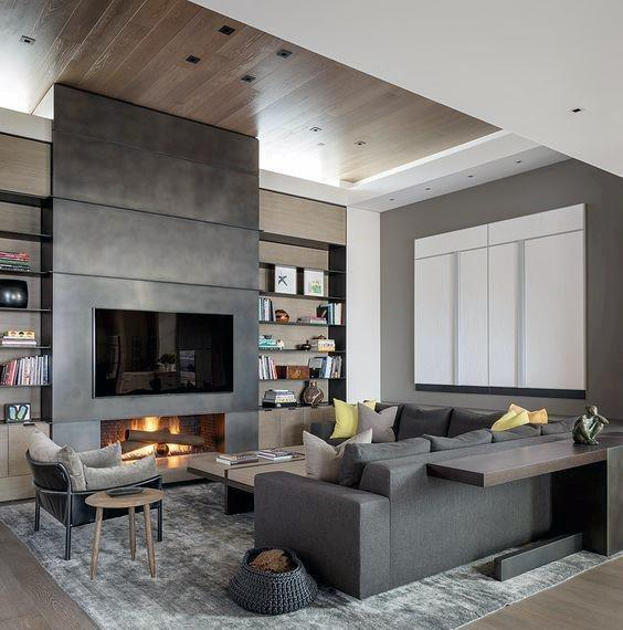 Concrete Fireplace Design With Wood Ceiling
