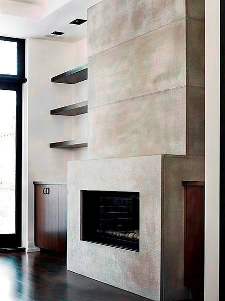 Concrete Fireplace Design With Wood Shelving