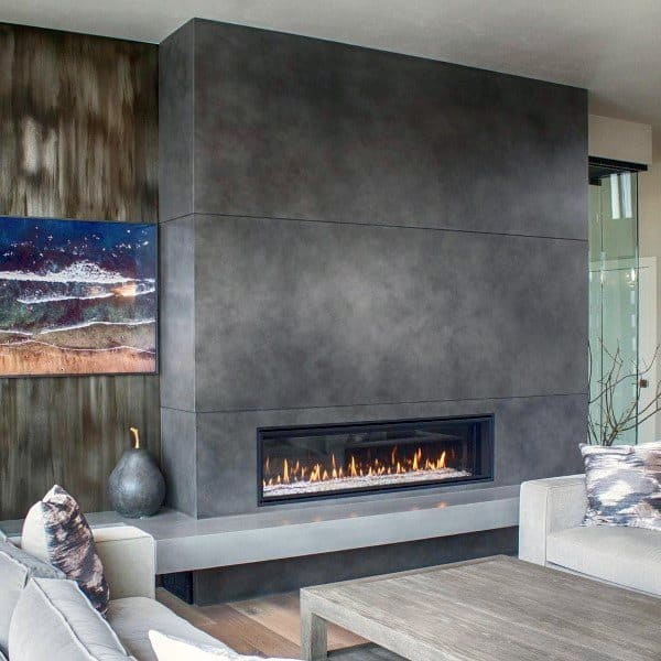 concrete gas fireplace living room design ideas - Gas Fireplace Design Ideas