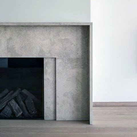 Concrete Modern Fireplace Design Surrond