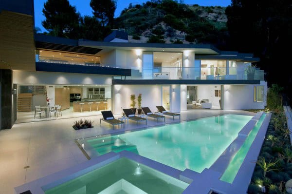 Concrete Modern Home Swimming Pool With Underwater Lighting Ideas