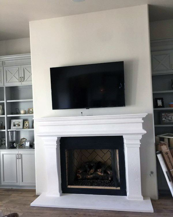 Concrete Painted Fireplace Mantel Design