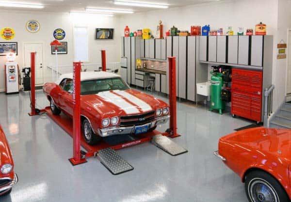 Concrete Painted Garaged Flooring Design Ideas