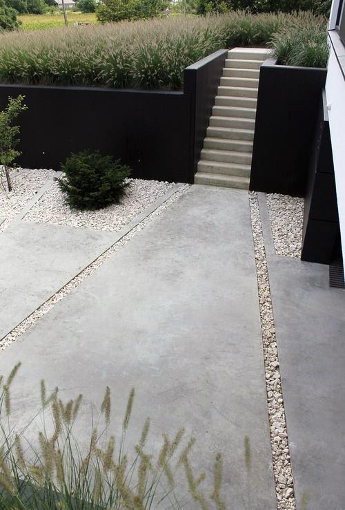 Concrete Pathway With Stairs Modern Landscape Design