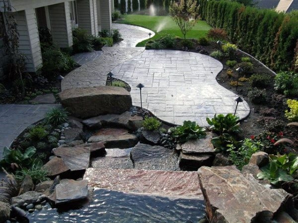 Concrete Patio Ideas For Backyard With Pond