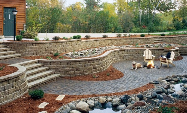 Sloped Backyard Landscaping Retaining Walls Stairs