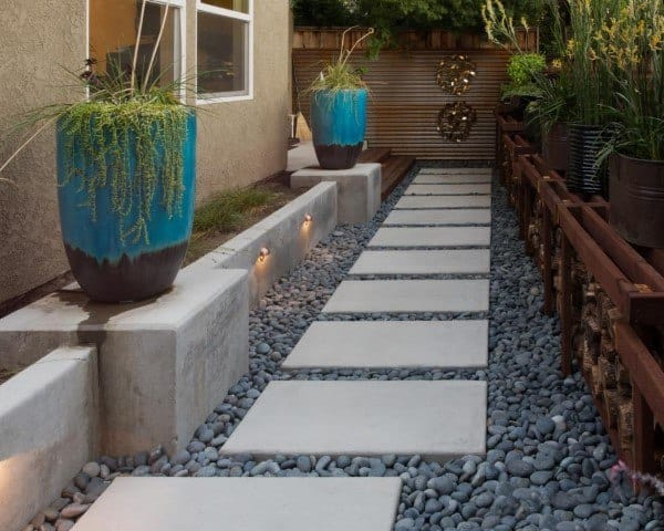 Concrete Slab With Pebble Rocks Walkway Ideas