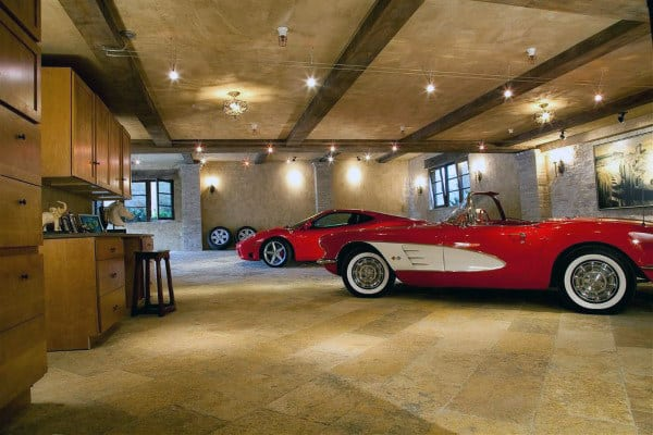 Concrete Stain Tan Tile Flooring Of Luxury Home Garage