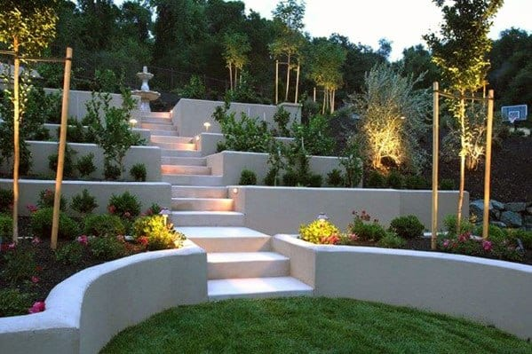 Concrete Stairs And Retaining Wall Slope Landscaping Ideas