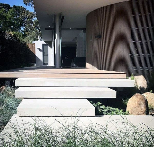 Concrete Front Yard Landscaping: Top 60 Best Concrete Walkway Ideas