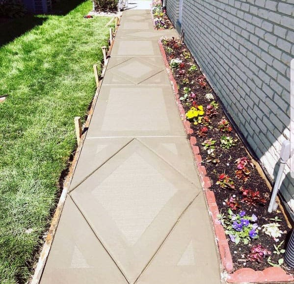 Concrete Walkway Design Idea Inspiration Diamond Pattern