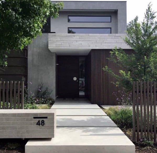 Modern Front Yard: Top 60 Best Concrete Walkway Ideas
