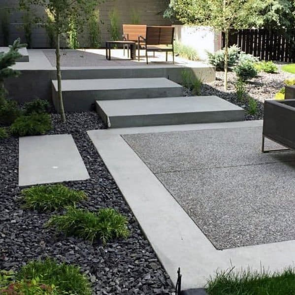 Concrete Walkway Modern Patio