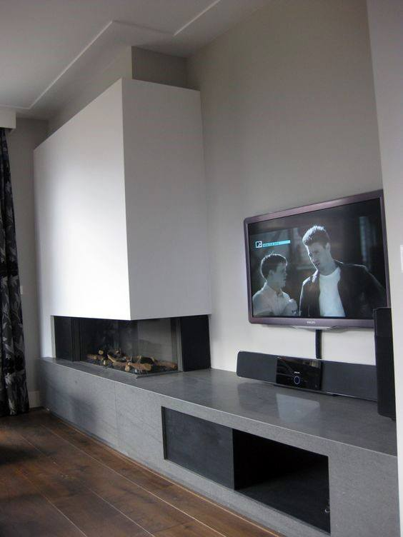 Concrete White Wall Modern Fireplace Design
