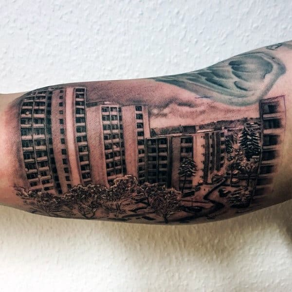 Condo Building Mens Inner Arm Bicep Tattoos