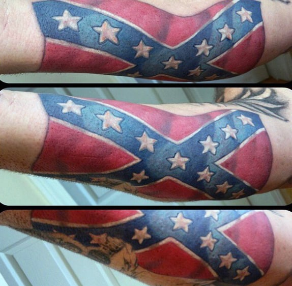 Confederate Rebel Flag Mens Forearm Tattoos