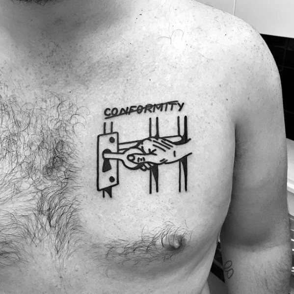 Conformity Key And Lock Simple Chest Mens Tattoos