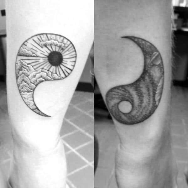 Ideas de diseño de tatuaje de pareja conectada Yin Yang